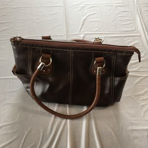 Relic Brown 3 Compartment Handbag